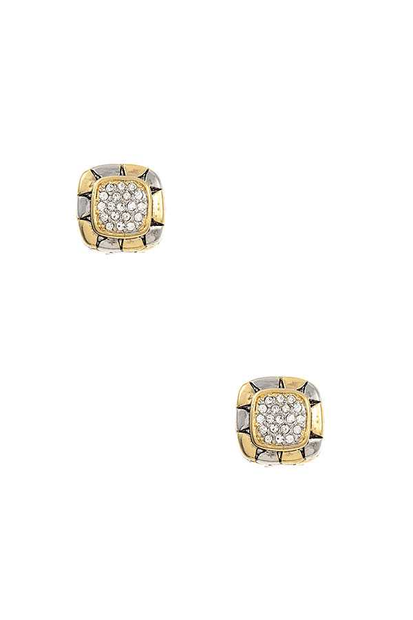CZ STONE SQUARE FRAMED POST EARRING