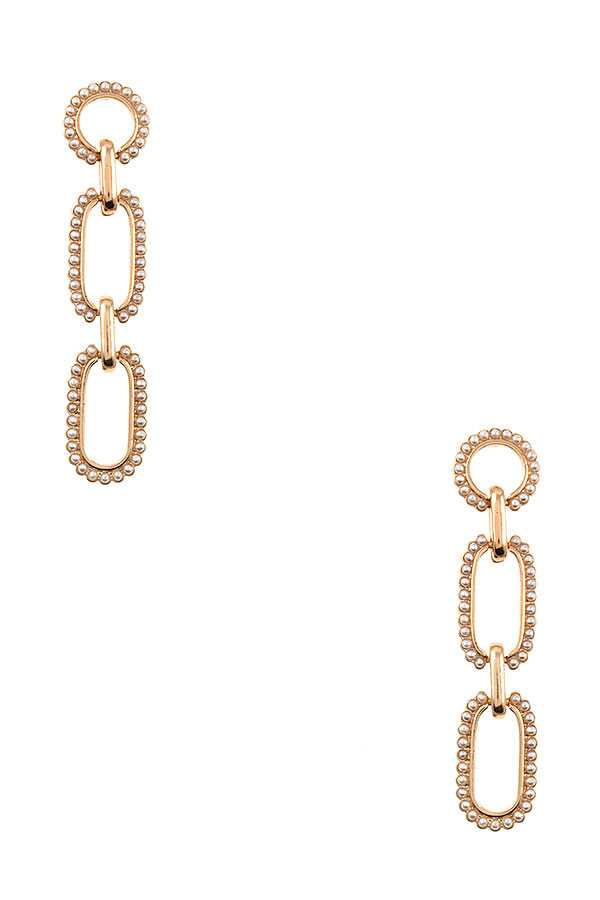 RECTANGULAR BEADED LINK DROP EARRING