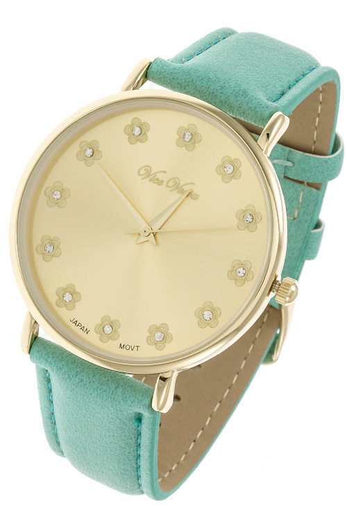 floral crystal stud template faux leather watch band