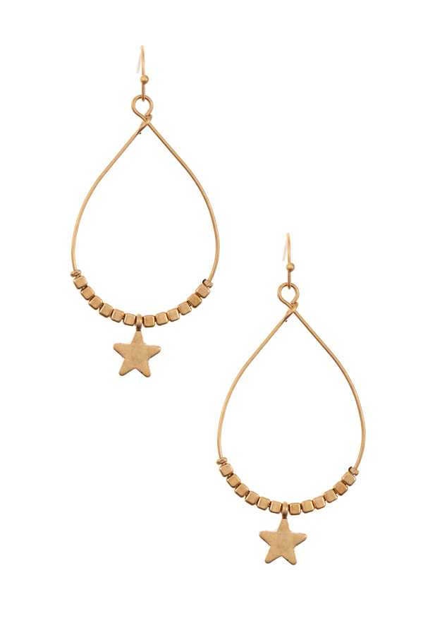 STAR AND CUBE TEARDROP DANGLE EARRING