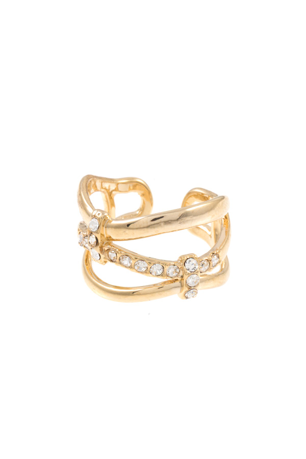 CRISSCROSSED TRIPLE ROW RHINESTONE CUFF RING
