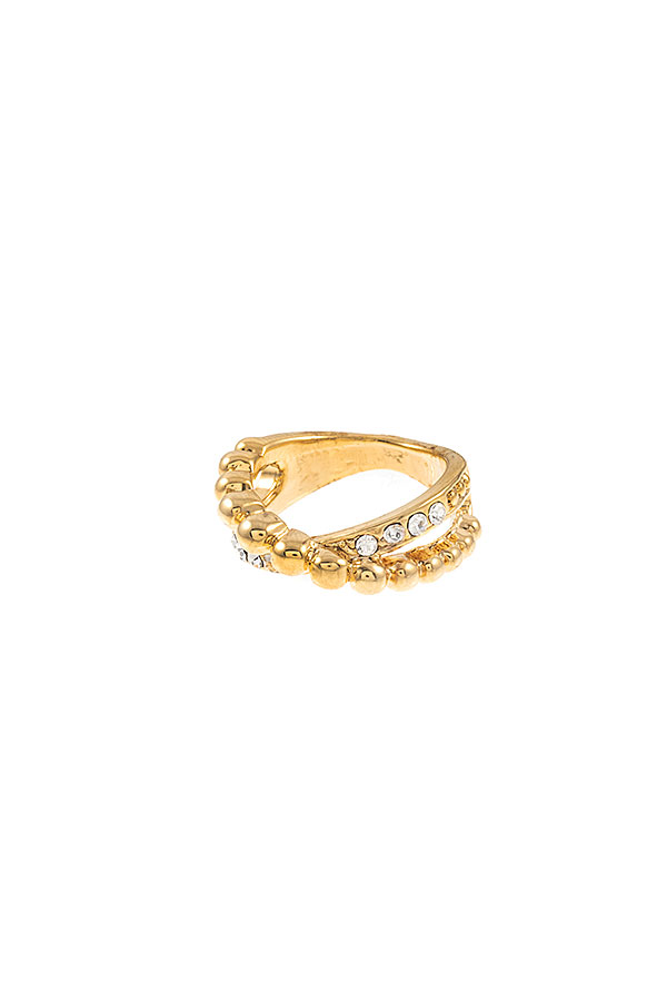 CROSS RHINESTONE PAVE RING