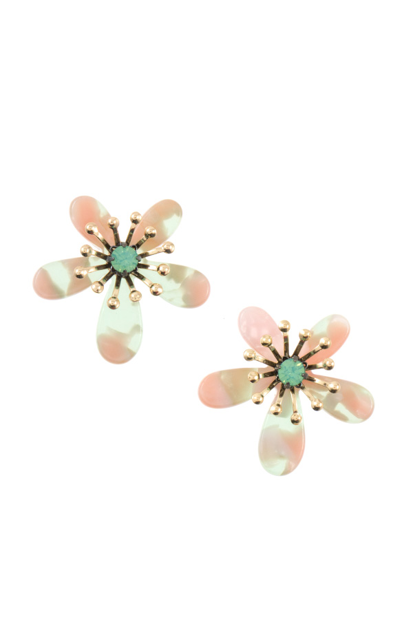 ACRYLIC FLORAL POST EARRING