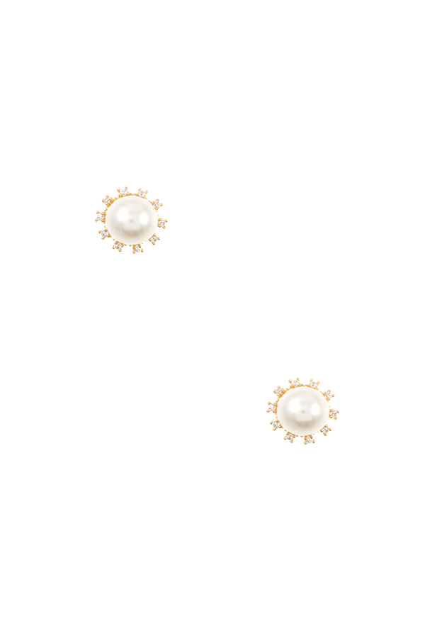 PEARL CZ STONE FRAMED POST EARRING