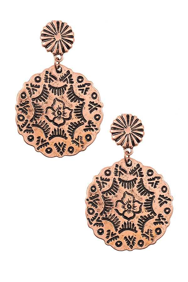 FLORAL ETCHED DISK DROP EARRING