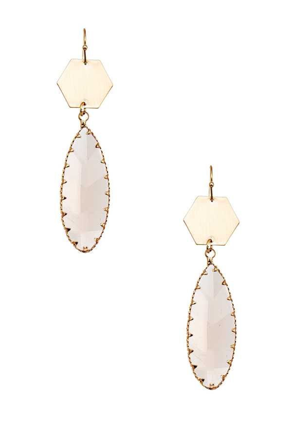 VAL FRAME WITH CRYSTAL DANGLE EARRING