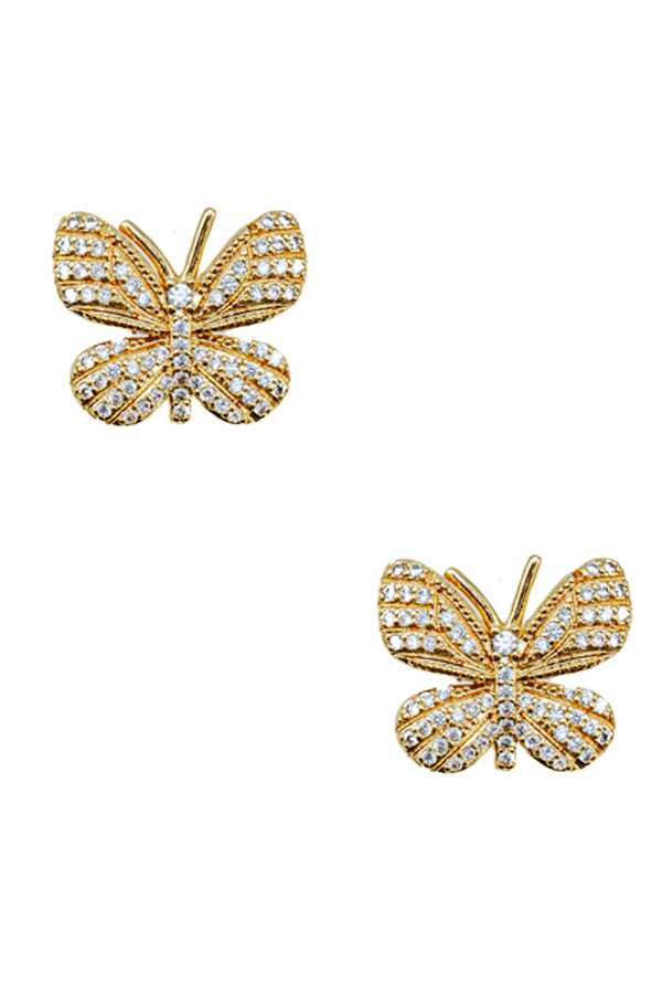 CZ PAVE BUTTERFLY STUD EARRING