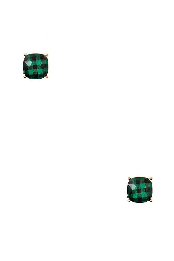 CHECKERED PRINT POST EARRING