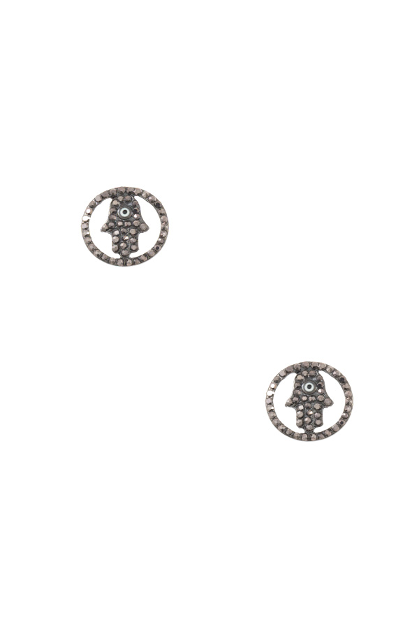 GEM PAVE HAMSA HAND POST EARRING