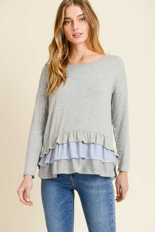 Long Sleeve Top With Ruffled Layered Detail