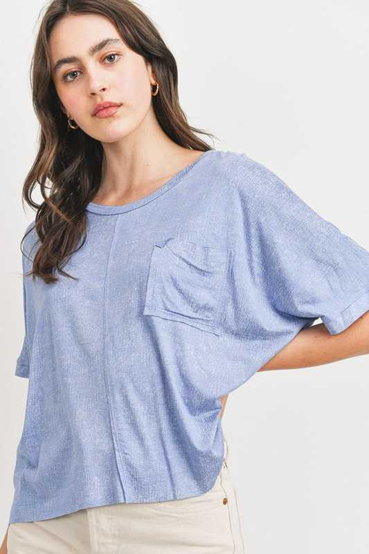 Raw Edge Front Pocket Boxy Jersey Top