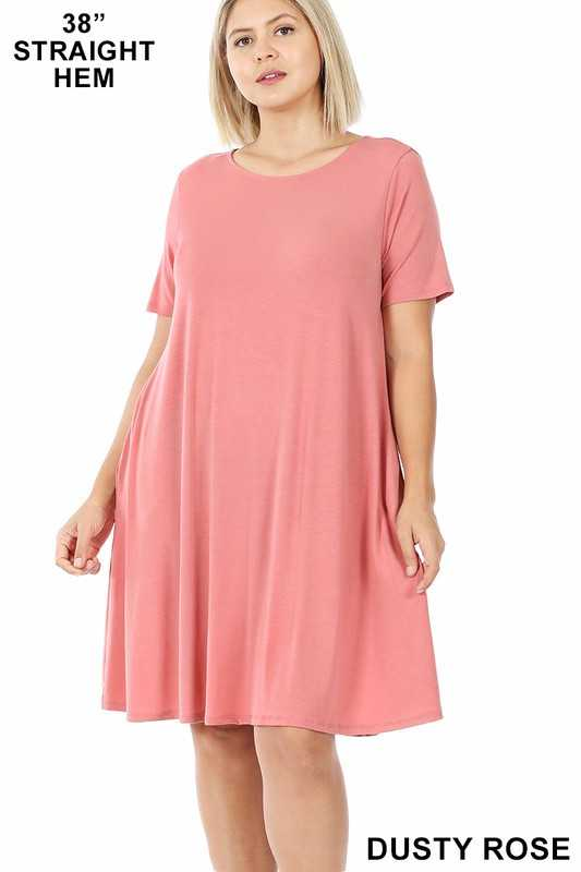 PLUS SHORT SLEEVE FLARED DRESS WITH SIDE POCKETS
