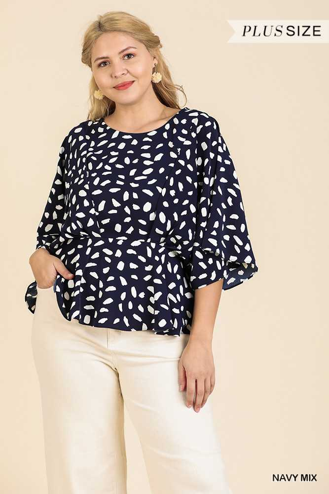 Dalmatian Print Bell Sleeve Top with Peplum Hem