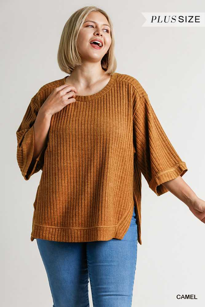 Ribbed Knit 3/4 Folded Sleeve Round Neck Top