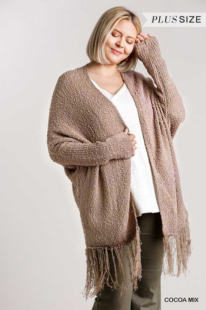 Open Front Cardigan Sweater with Fringe Hem