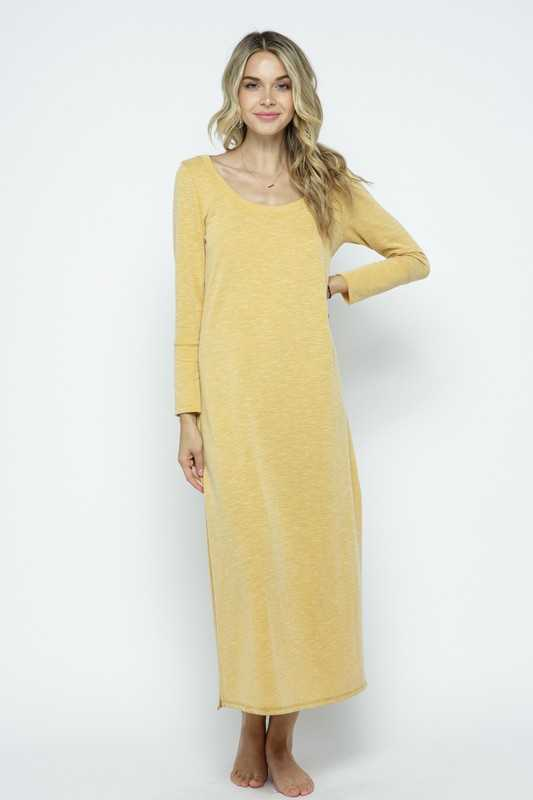 FINE RIBBED MAXI SHIRT DRESS WITH HIGH SIDE SLITS