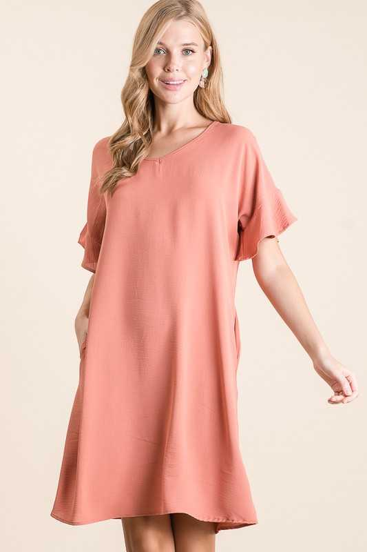 CRINKLED STRETCH WOVEN V NECK DRESS