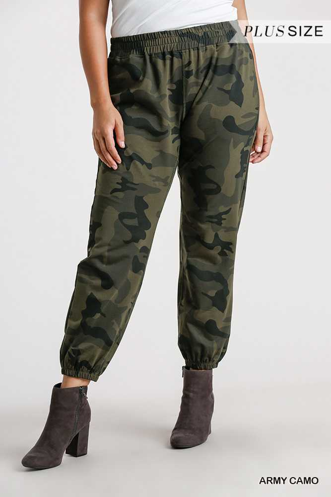 Camo Print Elastic Waist Joggers with Pockets