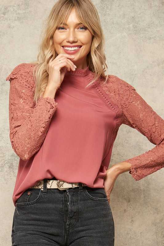 Woven Top with Ruffled Lace Long Raglan Sleeves