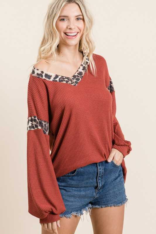 Solid Waffle Leopard Contrast Top