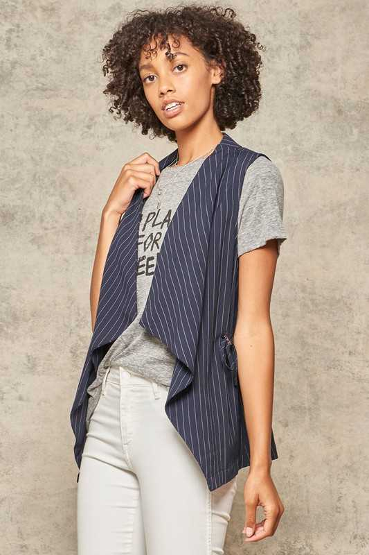 Stripe Print Shawl Collar Open Front Vest