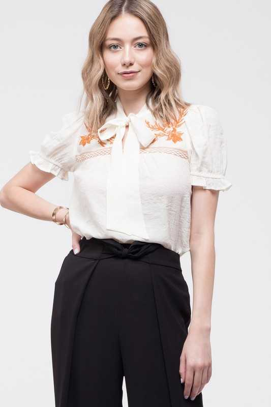 Embroidered Yoke Top with Tie Neck