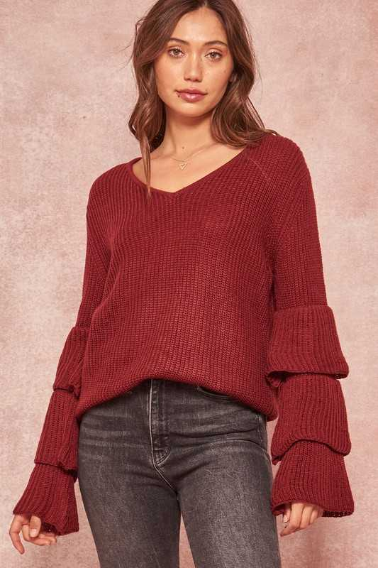 Tiered Ruffle-Sleeve Ribbed Knit V-Neck Sweater