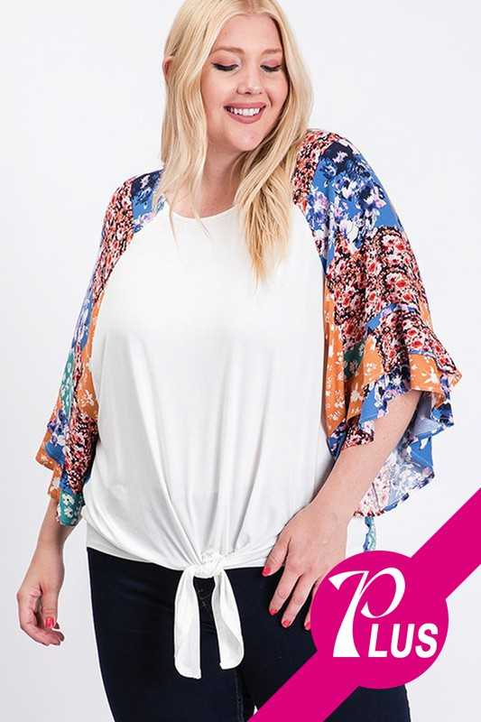 Patch Print Short Sleeve Plus Top