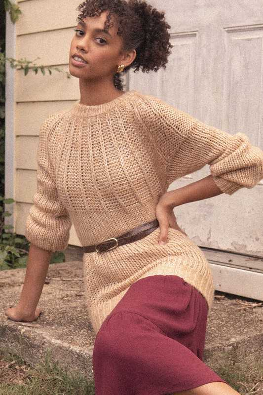 Two-Tone Knit Sweater with Ribbed Detail