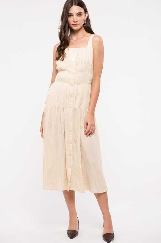 Tiered Button-Front Midi-Dress