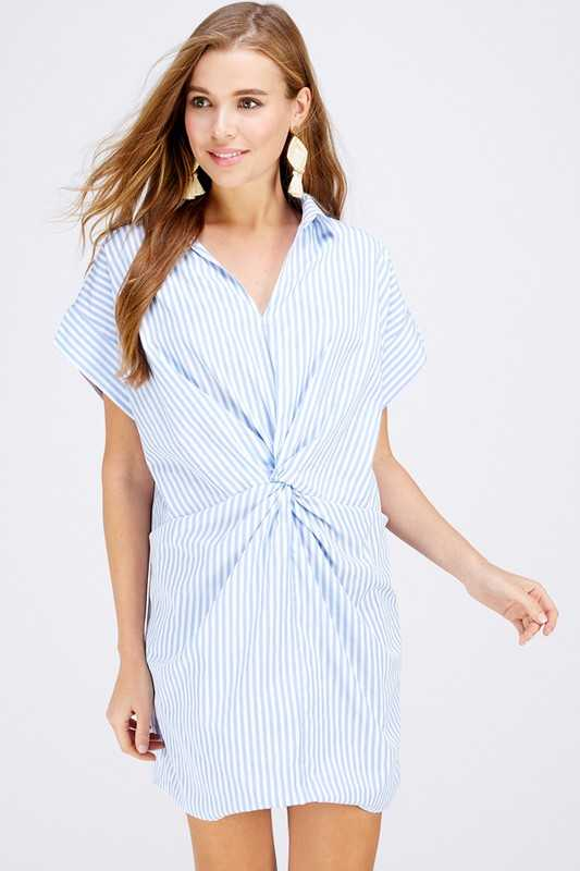 Short sleeve twisted detailed stripe shirt dress