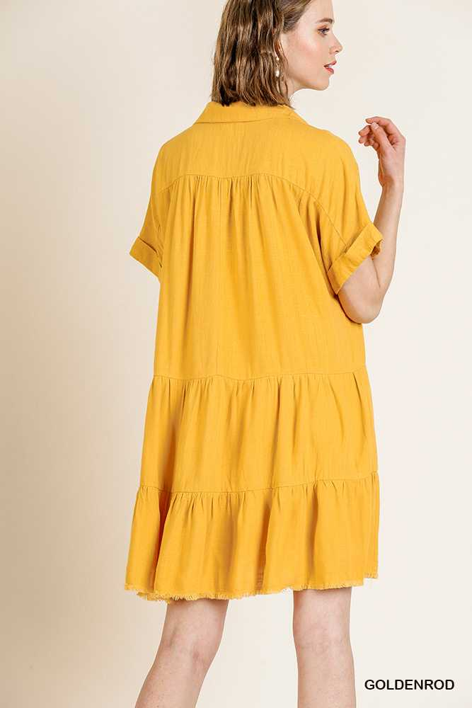 Short Folded Sleeve V Neck Dress