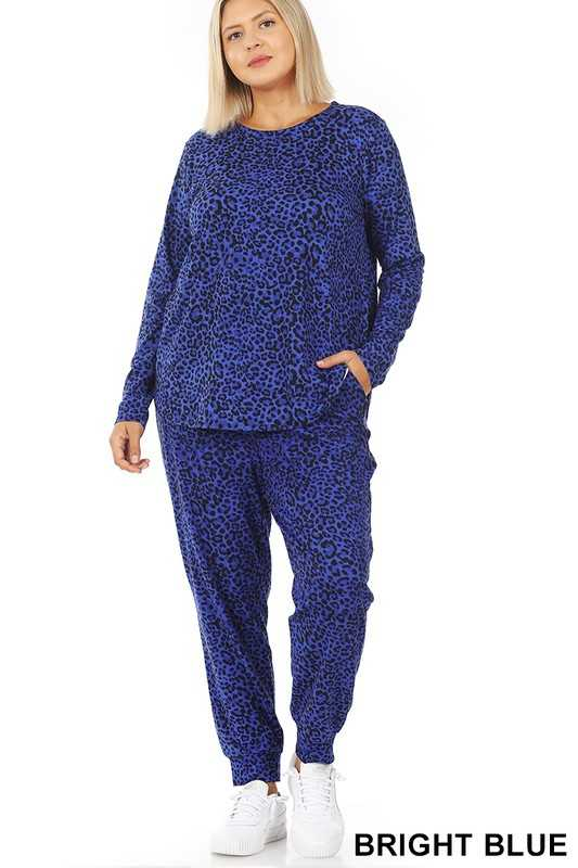 PLUS MICROFIBER LEOPARD LONG SLV TOP & JOGGER SET
