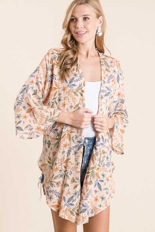 PRINT SIDE SLIT OPEN CARDIGAN