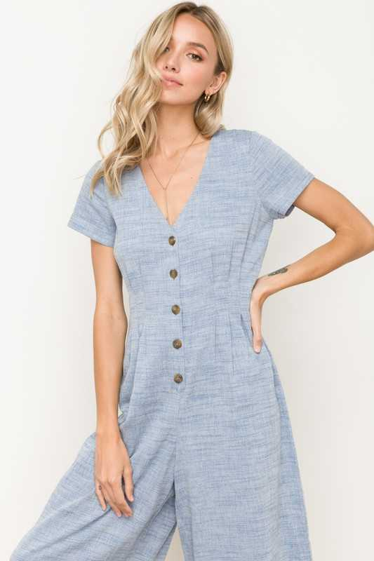 V NECK BUTTON FRONT MID LENGTH JUMPSUIT