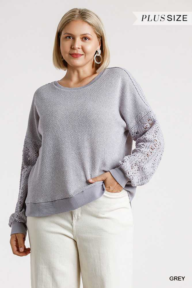 Crochet Detail on Sleeve Round Neck Knit Top
