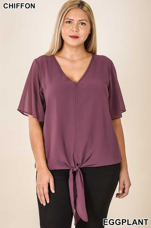 PLUS WOVEN DOUBLE LAYER CHIFFON FRONT TIE TOP