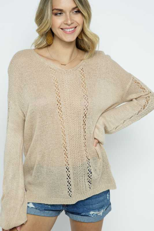 Bell Sleeve Pullover over Sweater