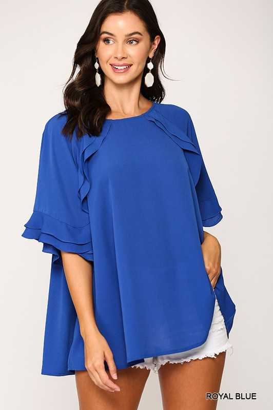 Bubble Crepe Ruffle Detail Top with Back Keyhole