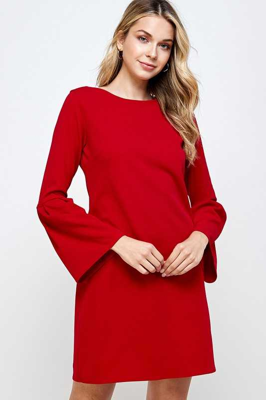 Solid bell sleeve shift dress