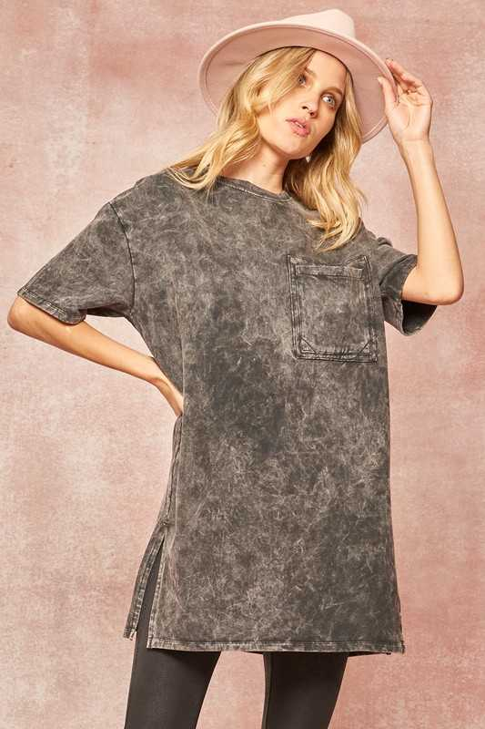 Vintage Mineral Washed Pocket T-Shirt Tunic Top