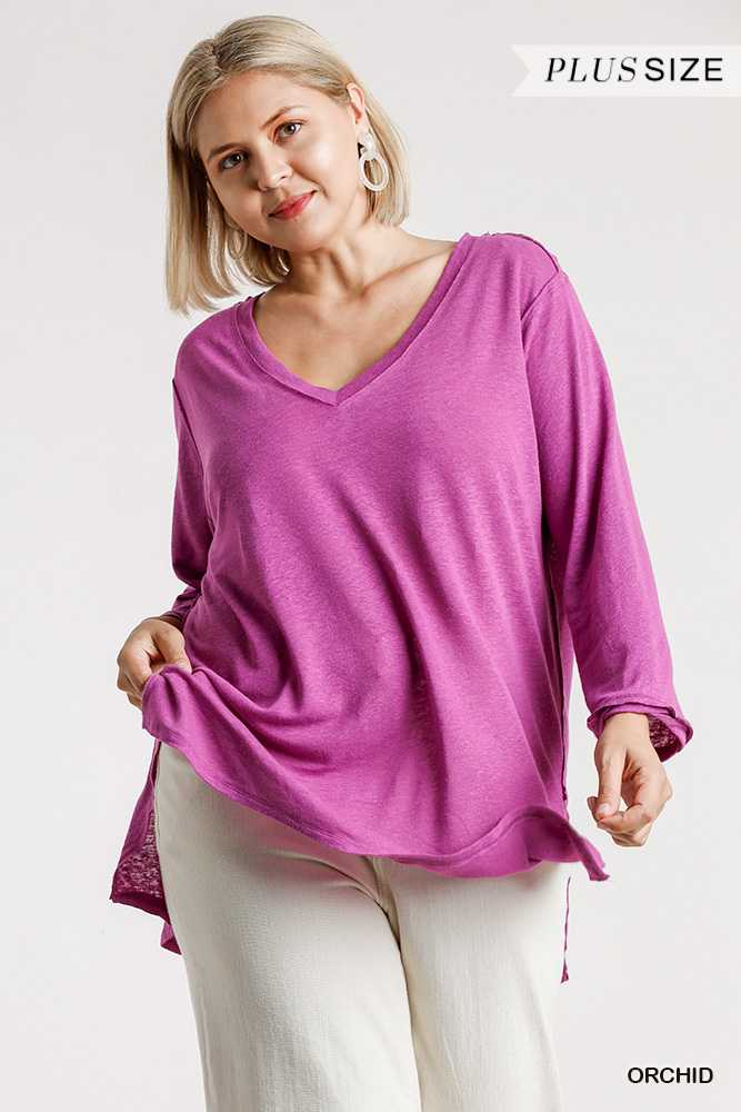 V-Neck 3/4 Sleeve Raw Edge Detail Top