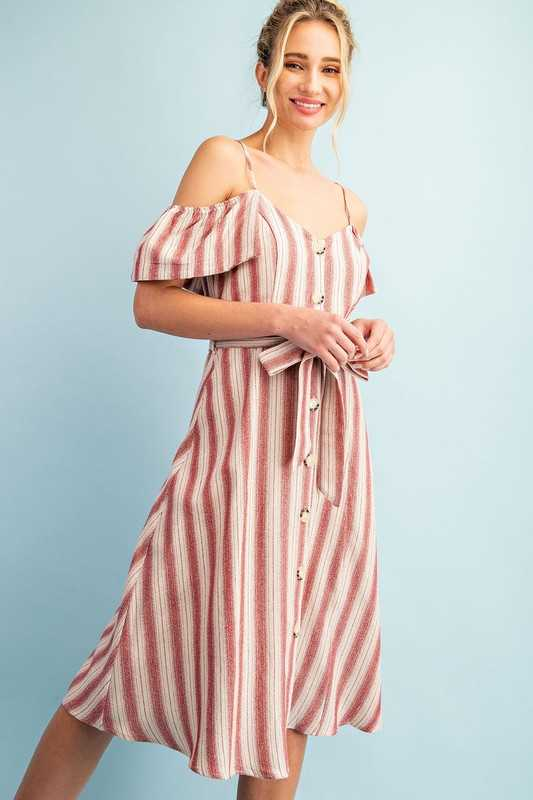 STRIPED COLD SHOULDER BUTTON DOWN DRESS