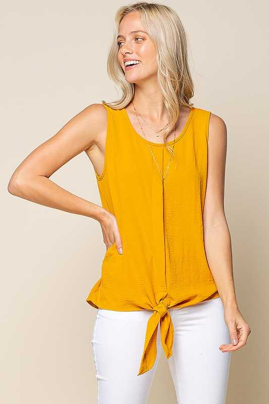 CRINKLE STRETCH WOVEN FRONT TIE SLEEVELESS TOP