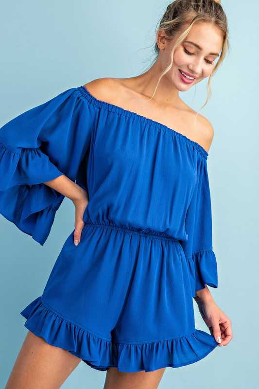 OFF THE SHOULDER RUFFLE ROMPER