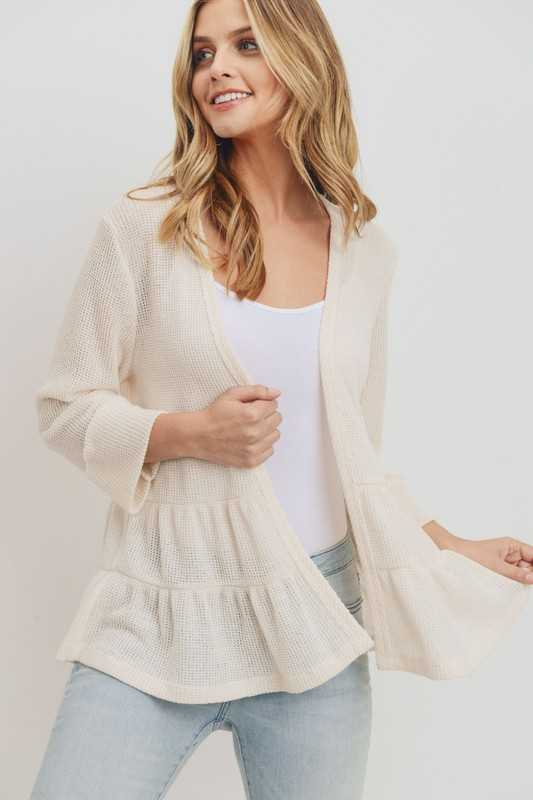 Textured Knit Sleeve Layered Cardigan
