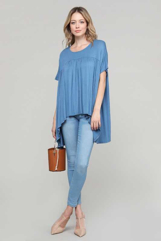 Knit Solid Short Sleeve Loose Fit Top