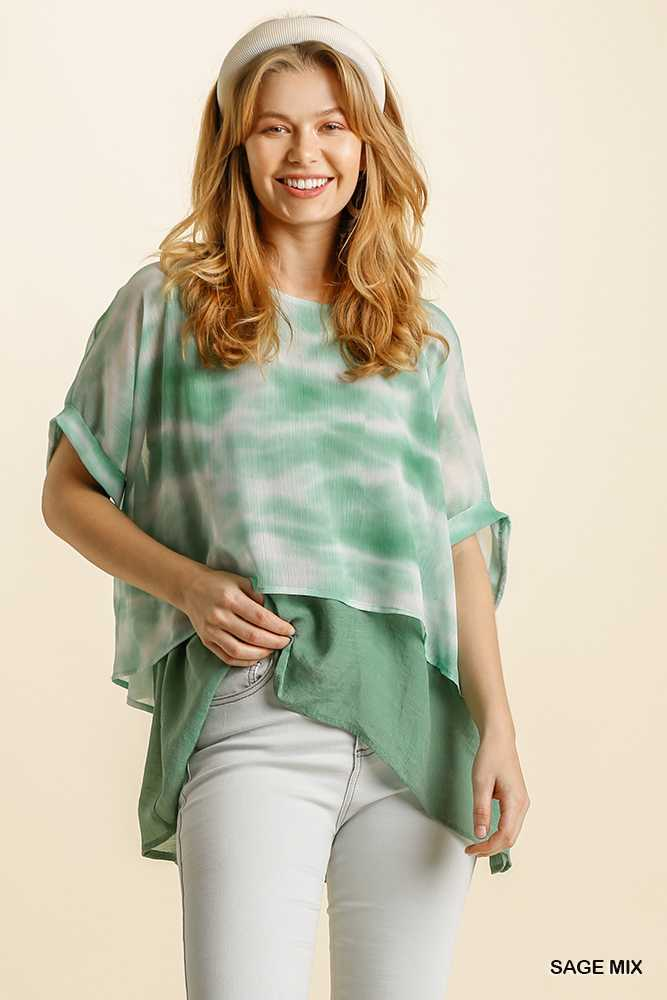 Tie Dye Round Neck Short Folded Sleeve Layered Top