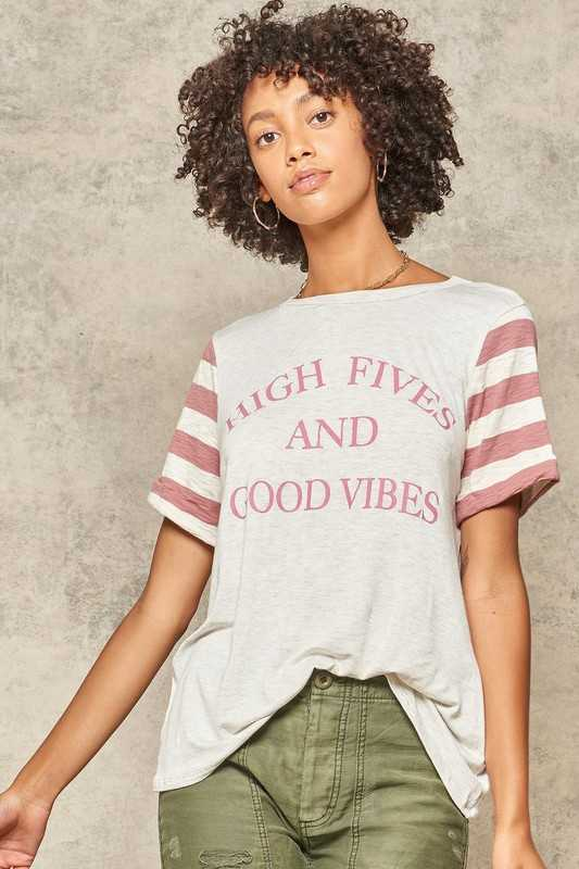 High Fives Good Vibes Striped-Sleeve Graphic Tee