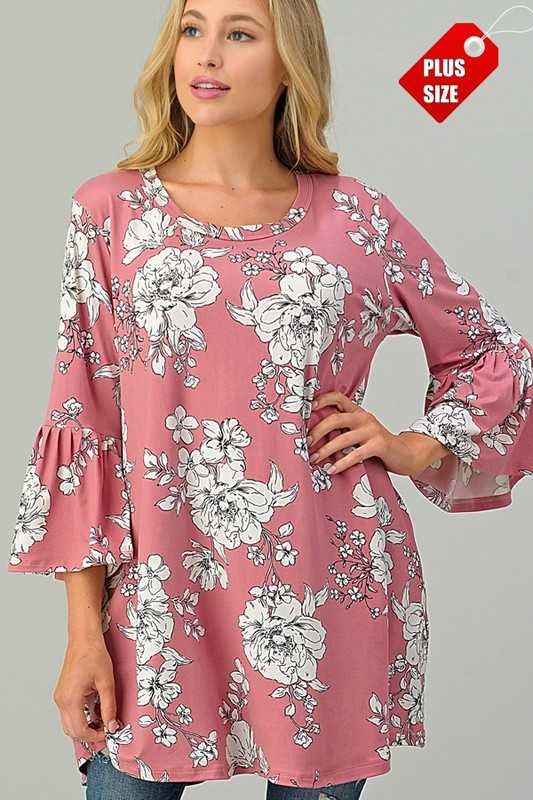 FLORAL PRINT  RUFFLE SLEEVE TOP PLUS